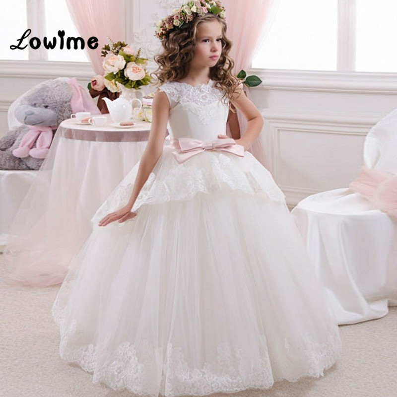 Ball Gown Princess First Communion   Dresses   For   Girls   Puffy   Flower     Girl     Dresses   Custom Made Pink Bow Kids Evening Gowns