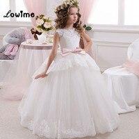 Balo Prenses İlk Communion elbise Kız Kabarık Çiçek Kız Elbise Custom Made Pembe Yay Çocuk Abiye giyim