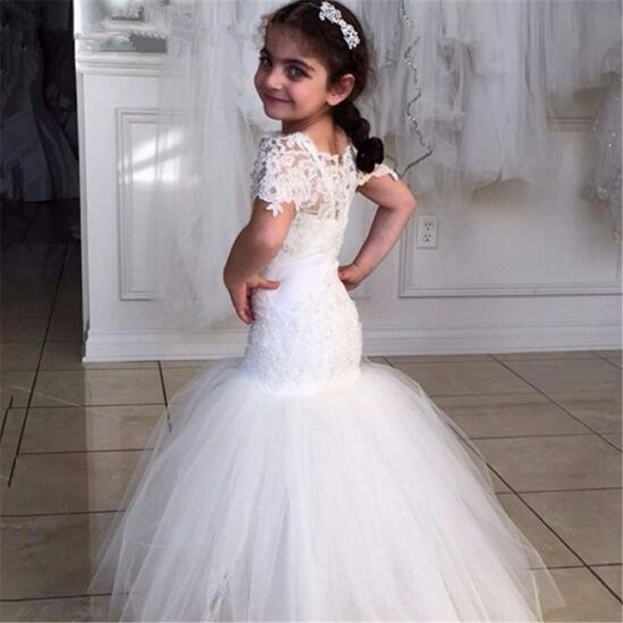 New White/Ivory Flower Girl Dresses Spaghetti Straps Lace Appliqued Mermaid Little Girl's Wedding Party Communion Gown