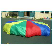 Kids Rainbow Play Parachute with Handles Outdoor Teamwork Game Interactive Toy 7m 8m 9m 10m diameter outdoor rainbow umbrella parachute toy jump sack ballute play for kids