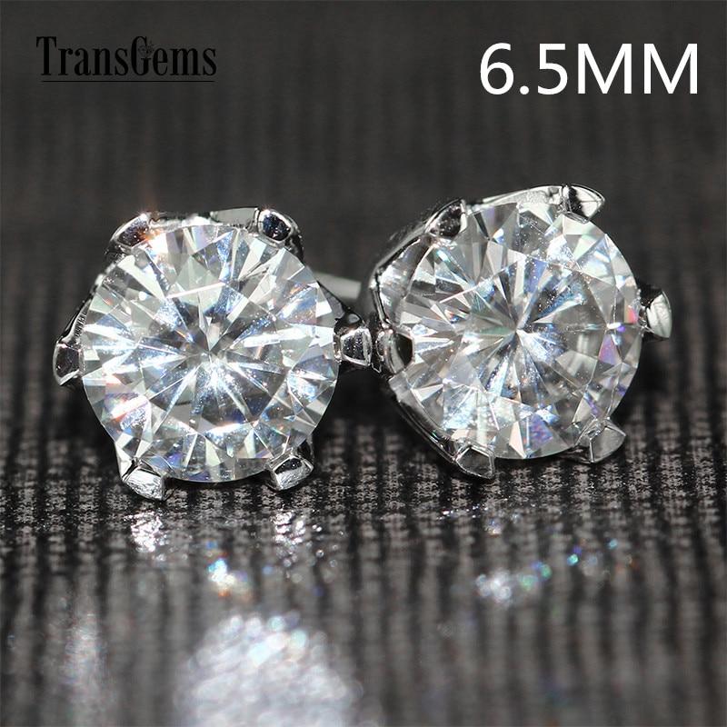 Transgems Solid 14K 585 White Gold 2CTW 6 5mm F Color Moissanite Stud Earrings For Women