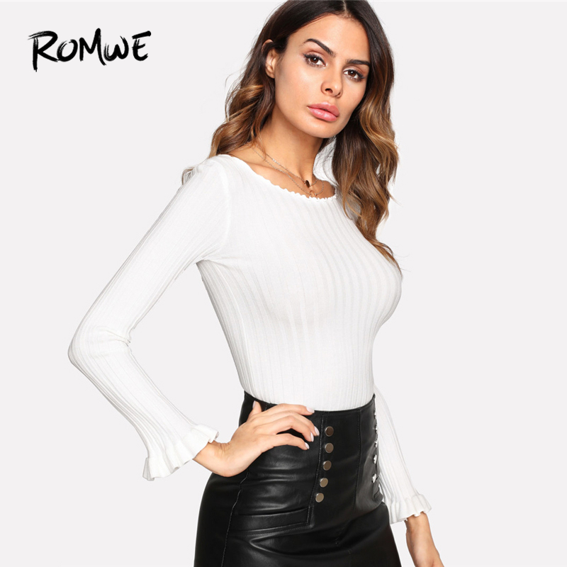 16a62af7444 ROMWE White Lettuce Trim Fluted Sleeve Ribbed Sweater Women Casual 2019  Autumn Clothes Ladies Elegant Slim Fit Pullovers Jumper-in Pullovers from  Women's ...