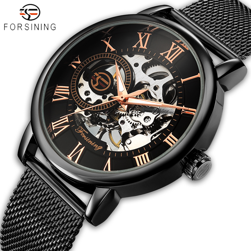 2018 FORSINING Men Watches Fashion 3D Logo Engraving Golden Watch Men's Stainless Steel Mechanical Watch Skeleton Male Clock forsining golden stainless steel sport watch steampunk men watch luminous openwork mechanical watches folding clasp with safety