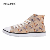 INSTANTARTS Chicken Flower Pattern Casual High Top Shoes Women Lace Up Canvas Flats Zapatos Mujer Student Girl Vulcanize Shoes
