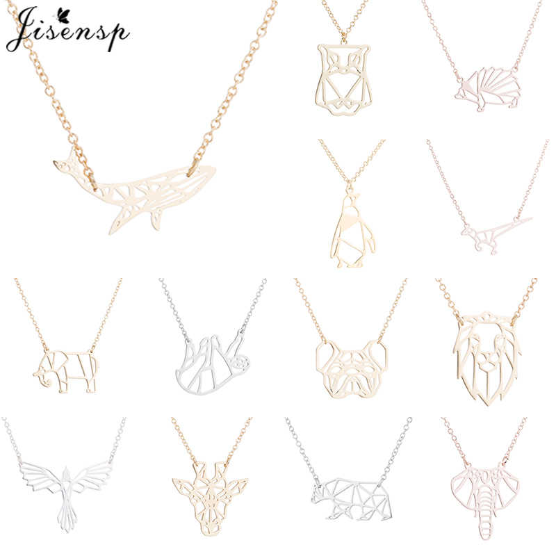 Jisensp Vintage Hollow Animal Long Chain Necklace Delicate Origami Whale Dog Pendant Necklace for Women Animal Jewelry Gifts