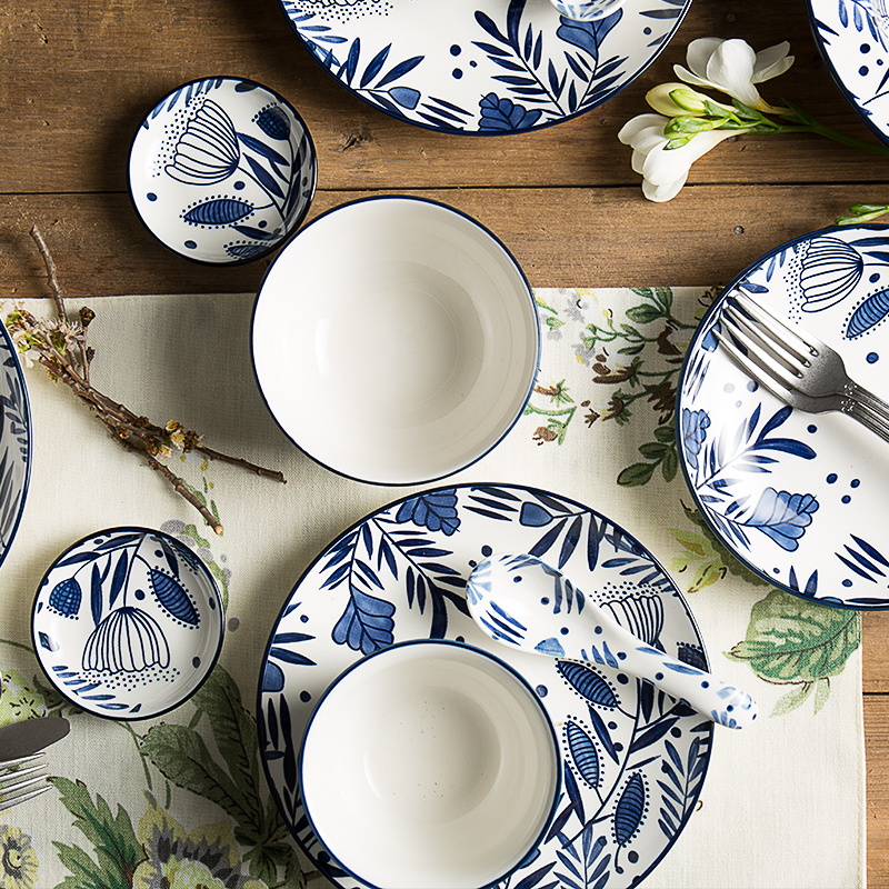 ceramic dishes and plates sets creative floral printed pigmented rice bowls noodles soup bowl steak plate spoon ins popular