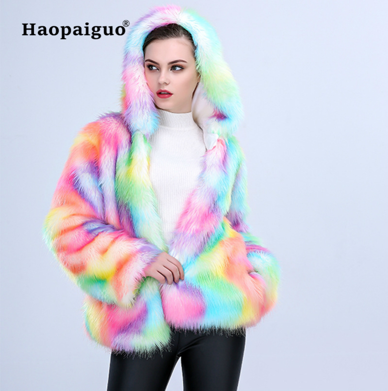 S-XXXL grande taille longue fausse fourrure manteau femmes épaissir chaud hiver Streetwear renard fourrure manteau femme mode arc-en-ciel Cardigan vêtements d'extérieur