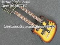 Classical Vintage Sunburst Double Neck 6 & 12 Strings Electric Guitar Left Handed Custom Available