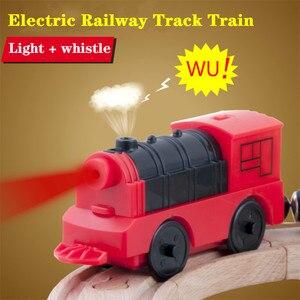 Image 1 - Połączenie magnetycznego elektrycznego pociągu lokomotywy drewniane akcesoria torowe kompatybilne z BRIO i główną marką kolei torowej