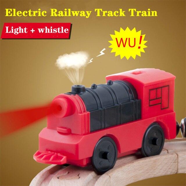 Połączenie magnetycznego elektrycznego pociągu lokomotywy drewniane akcesoria torowe kompatybilne z BRIO i główną marką kolei torowej