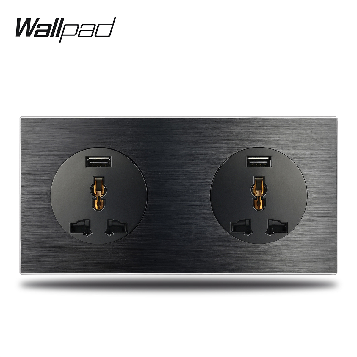 2.1A Fast Charging USB Socket 2 Way Double Universal Wall Electric Socket with Black Brushed Aluminum Alloy Panel2.1A Fast Charging USB Socket 2 Way Double Universal Wall Electric Socket with Black Brushed Aluminum Alloy Panel