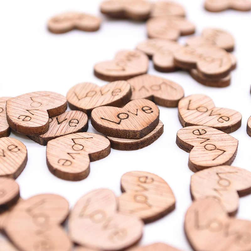 100 Uds Mini Corazón de amor de madera adornos de dispersión para mesa de boda DIY accesorios fiesta rústica de boda decoración DIY Favor Scrapbooking