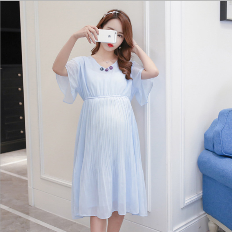 BAHEMAMI 2018 Summer Korean Fashion Maternity V-Neck Slim Belt Maternity New Maternity Pleated Chiffon Clothes