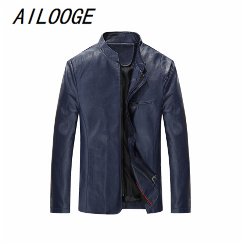 2016 New Style Famous Brand Male Leather Jacket High Quality Oversized 5XL Motorcycle Leather Jacket Brand Clothing Hot Sale