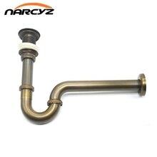 ขวดใหม่ TRAP ทองเหลืองรอบ Siphon โบราณ/สีดำ P TRAP ชุดห้องน้ำ Vanity อ่างล้างหน้าท่อขยะ Pop Up ท่อระบายน้ำ 9231K