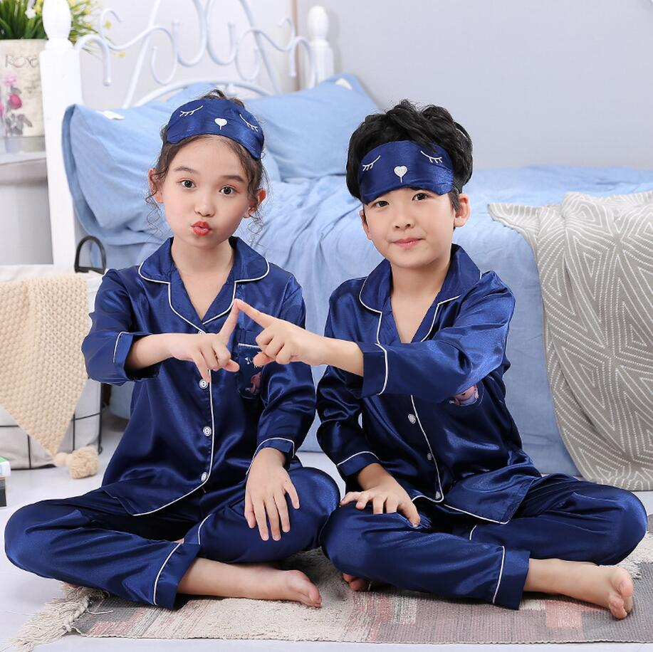 Long Sleeve Silk Autumn Winter Children Pajamas with eye mask Girl Cloth Set Lovely Kid's Pyjamas Boy Sleepwear Clothes(China)
