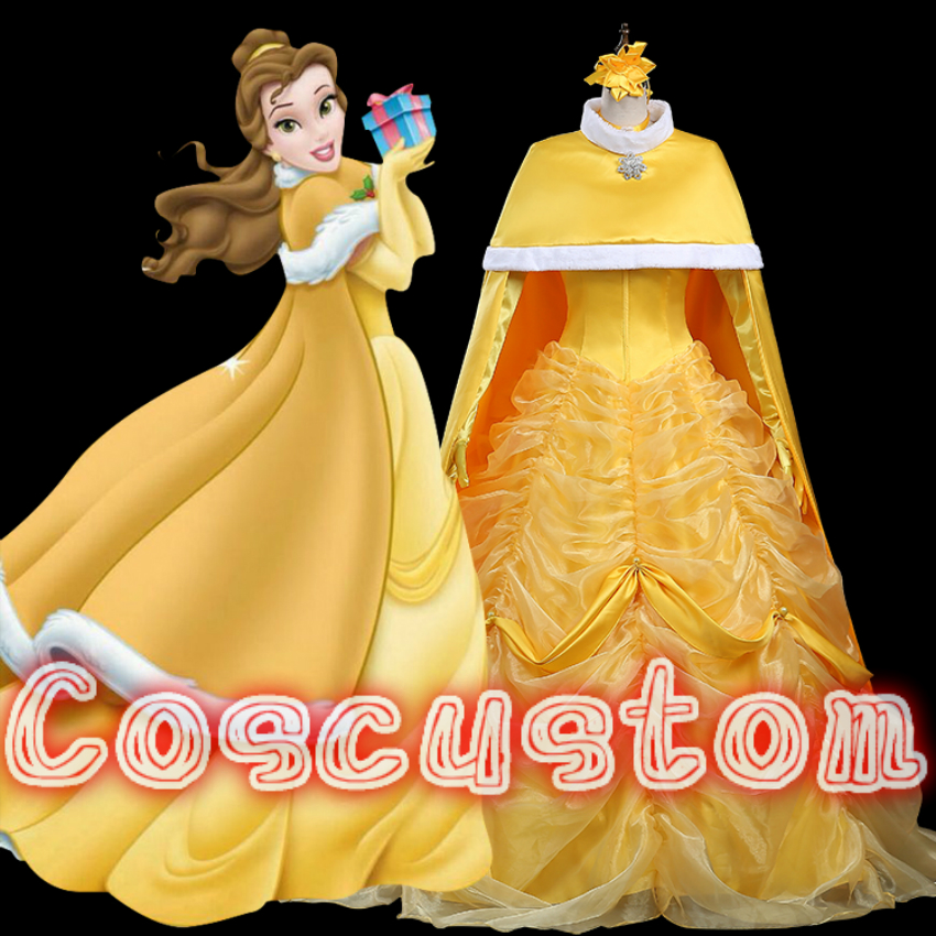 Coscustom High Quality New Princess Belle Dress with yellow cloak Movie Beauty and the Beast Belle costume fancy Cosplay Costume