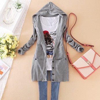 Free Shipping Women's Candy Color Lday medium-long hooded cardigan casual women's long-sleeve knitted sweater