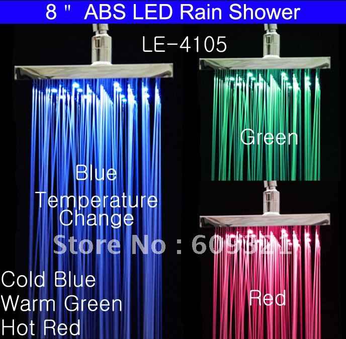 LED Shower Head LED Rainfall Shower Rain Shower LED Water Faucet LED Faucet Light With Temperature Sensor freeshipping brass 10 inch led shower head led shower temperature led water led bathroom faucet shower