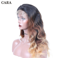 Blonde Ombre Lace Front Wig 250% Density 1b/4/27 Lace Front Human Hair Wigs Pre Plucked Brazilian Body Wave Wig Remy Hair CARA