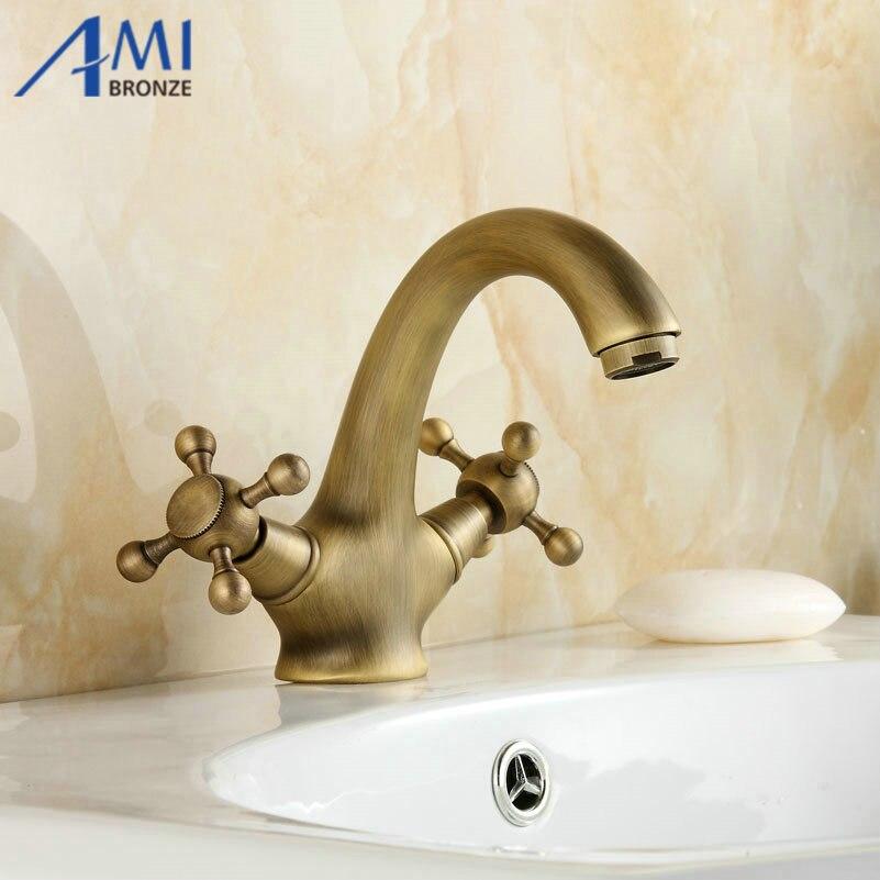 Robinets En Laiton Antique Salle De Bains Robinet bassin Évier mélangeur robinet col de cygne 9019A