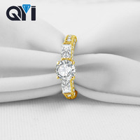 QYI SONA, Имитация Diamond 10 к массивная, желтая, Золотая кольца для женщин Свадебные обручение Jewelry Поддержка 18 настройки
