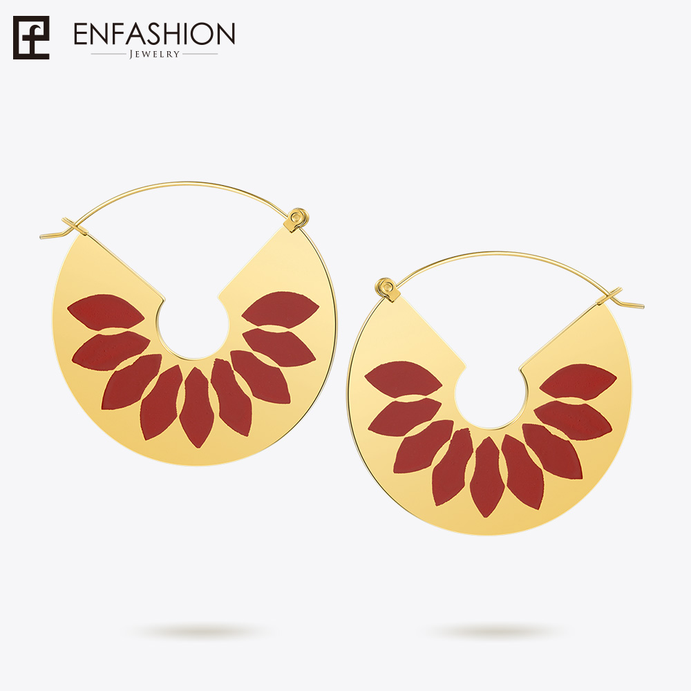 Enfashion Lacquer Art Series Red Petals Drop Earrings Fan Shape Big Gold color Earrings for Women Earings oorbellen EBQ18LA26