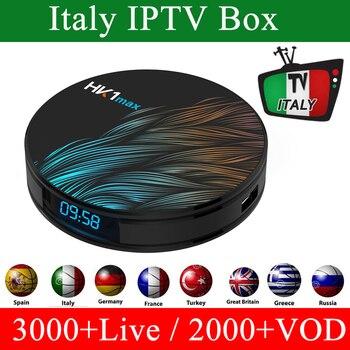 HK1 MAX Android9.0 TV box Italy IPTV 2GB 16G 4K 1 Year Italy turkish Arabic iran Greece ex-yu czech Channel Smart tv Box
