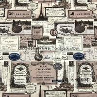 105X100 cm Fai Old Toni Parigi Torre Eiffel Francobolli Hotel Tessuto di Cotone per Tavolo Cortina di Stoffa Decorazione DIY-AFCK606