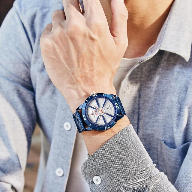 NAVIFORCE Mens Watches Top Brand Luxury Sport Watch Mesh Steel Date Week Waterproof Quartz Watch for Men Clock Relogio Masculino 4