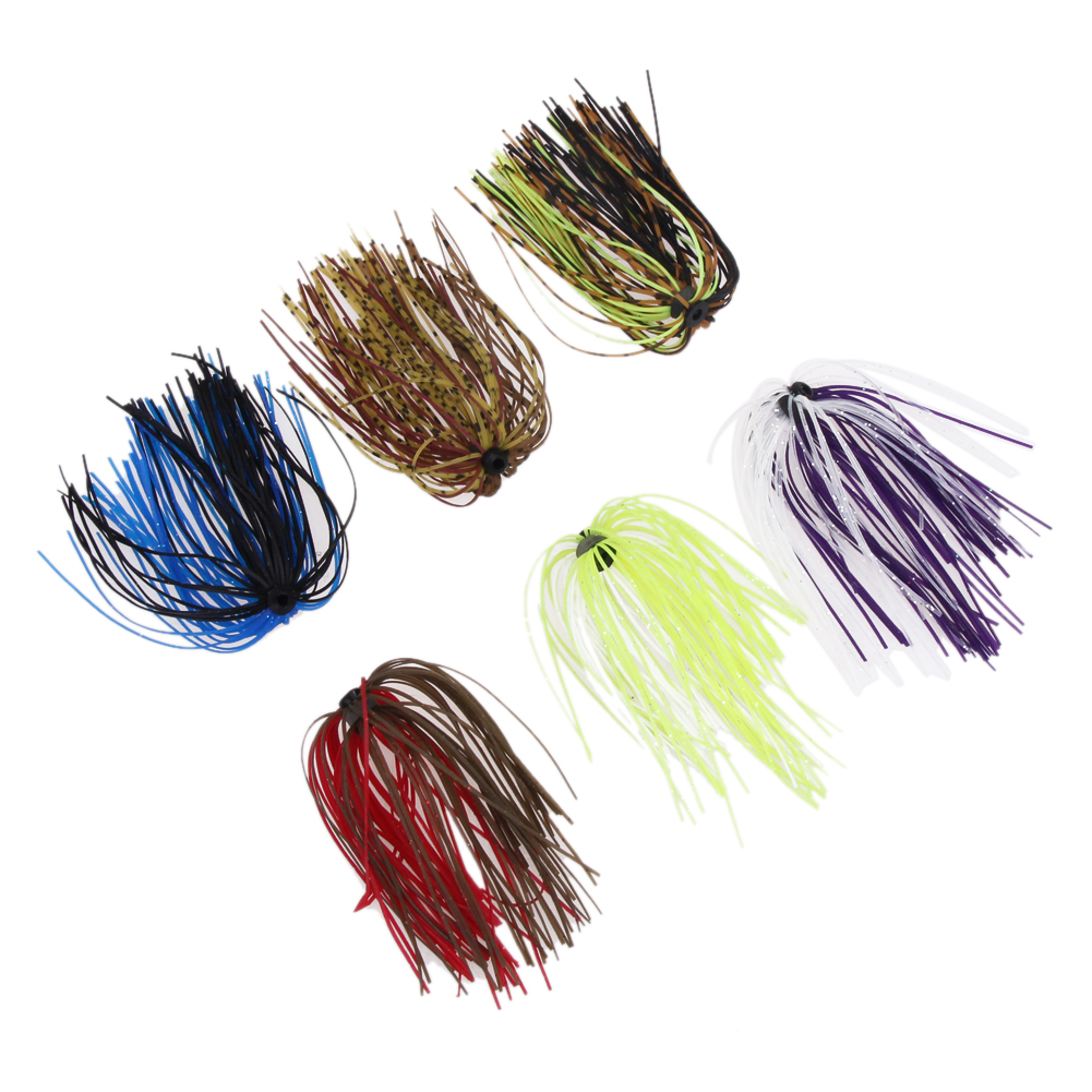 Freeship Soft Fishing Lure Baits Silicone Skirts 6 Bundles DIY Salty Rubber Jig Lures Squid Fishing Bait Fishing Accessories
