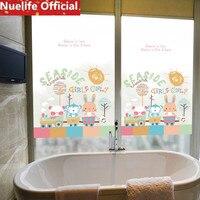 58x120cm bear monkey rabbit pattern frosted glass film toilet kitchen living room bedroom balcony window door opaque film N4