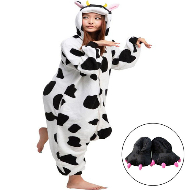 f19182ff9 Adults Winter Pajamas Long Sleeve Onesie Cow Suit Adult Funny Paw Shoes  Animal Appropriate Sleeping Rompers Womens Jumpsuit