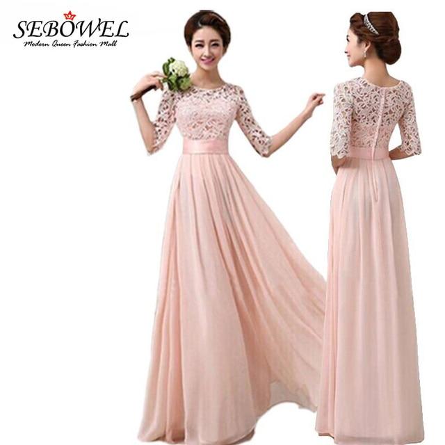 Pluz Size 2016 Autumn Winter Women Long Chiffon Dress Half Sleeve Lace Maxi Dresses Formal Wedding Party Dress Bridesmaid wear