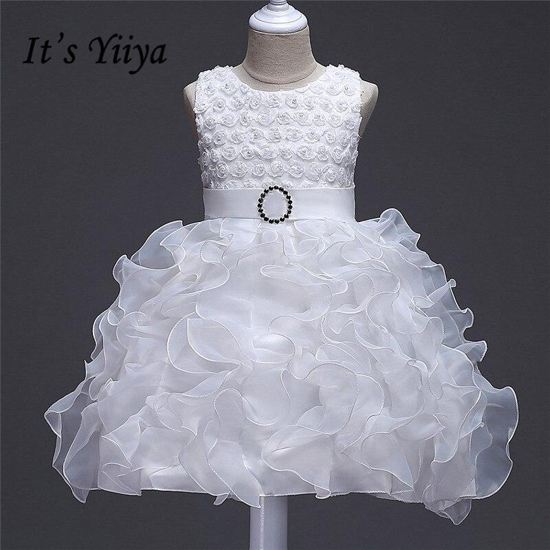 It's yiiya New Pleat Draped Flower Girl Dresses O-neck Princess Ball Grown Sleeveless O-neck Girls Dress 888
