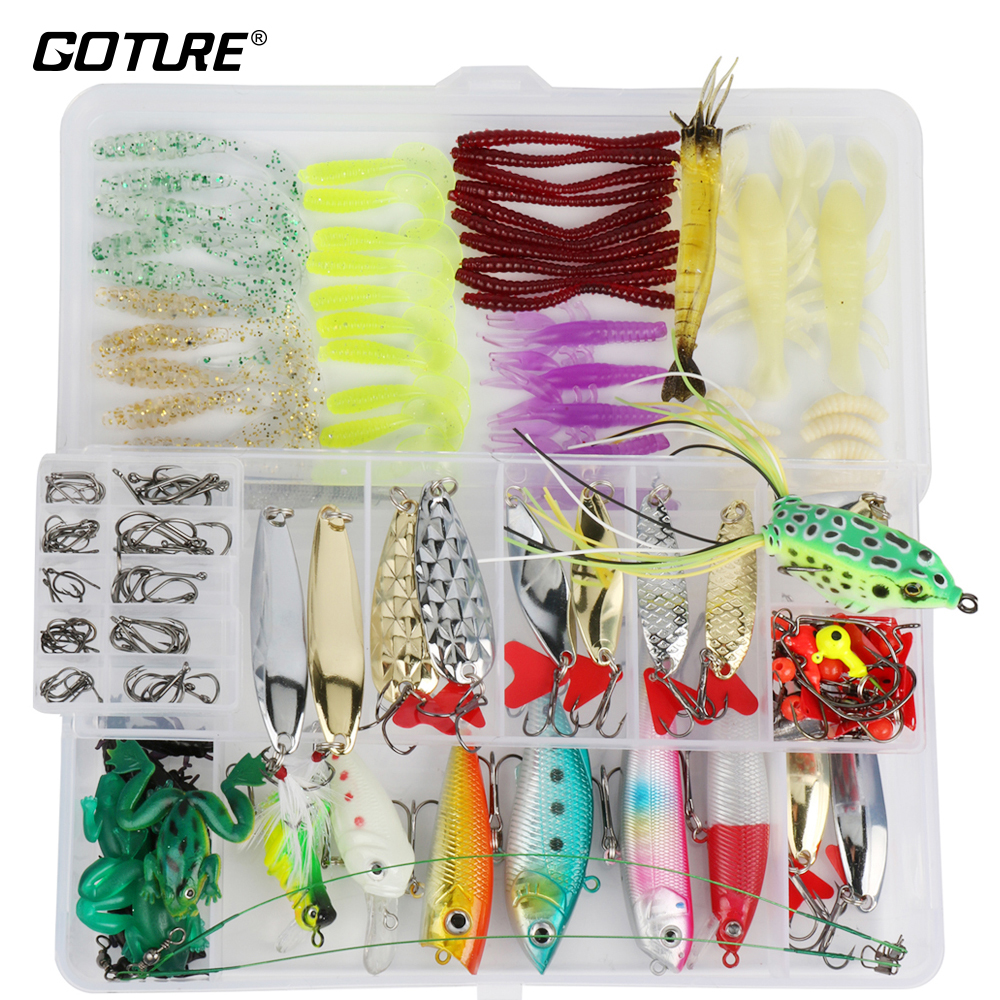 Goture 175pcs/box Fishing Lure Kit Minnow Spoon Crank Jig Fog Spinner Bait Fishing Hook Soft Lure With Fishing Tackle Box goture 96pcs fishing lure kit minnow popper spinner jig heads offset worms hook swivels metal spoon with fishing tackle box