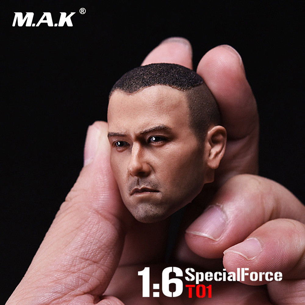 1/6 Scale Asia Male Head Sculpt Special Force T01 Peng Yuyan Head Carving Model For 12 Action Figure Collection Toys Gift 1 6 scale full set male action figure kmf037 john wick retired killer keanu reeves figure model toys for gift collections