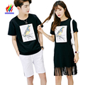 Couple T-Shirts For Lovers Clothing 2017 Summer Tassel Fashion Casual Tops Printed T-Shirt Black Korean Matching Couple T Shirts