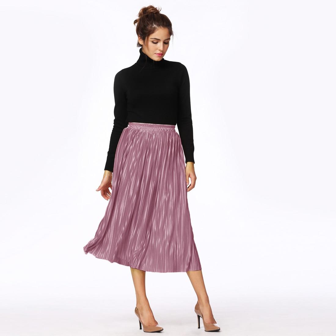 b04eaef44a Ladies Metallic Pleated Skirt