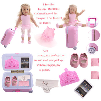 Doll Clothes 5Pcs/Set=Suitcase+Ballet/Denim Suits+Shoes+Panties+Mini Tablet For 18 Inch American&43 Cm Baby New Born Girl`s - discount item  41% OFF Dolls & Accessories