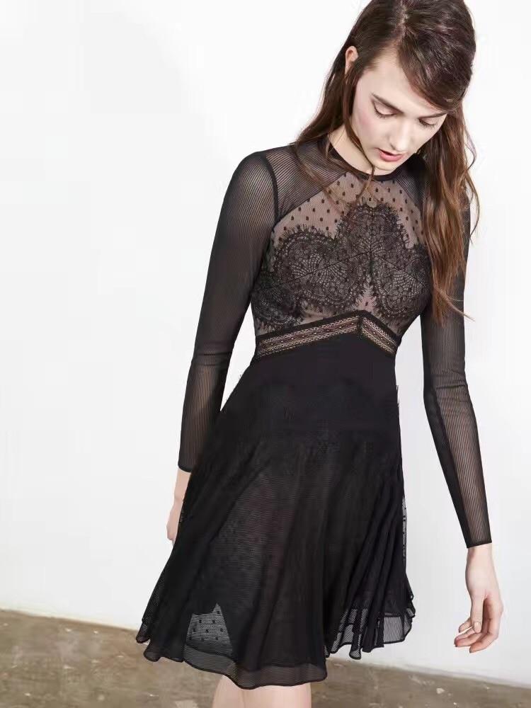 Buy Cheap Free Shipping 2016 Fashion Lace stitching net yarn long-sleeved dress