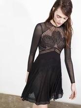 Free Shipping 2016 Fashion Lace stitching net yarn long-sleeved dress