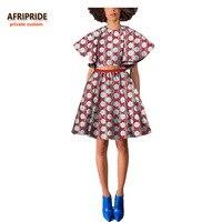 2017 africano mulheres casual suit AFRIPRIDE privada personalizado alargamento manga top + joelho-comprimento saia plissada mulheres casuais terno A722642