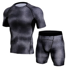 S-3XL Mens Fitness Set Summer Casual Sporting Male Quick-Drying Tops+Shorts Sweatsuit 2 Piece 3D Animal pattern Tracksuit
