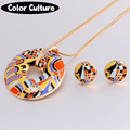 Gold Plated Costume Jewelry Color Enamel Jewelry Sets Luxury Brand Painted Necklace Women Vintage Castle Series