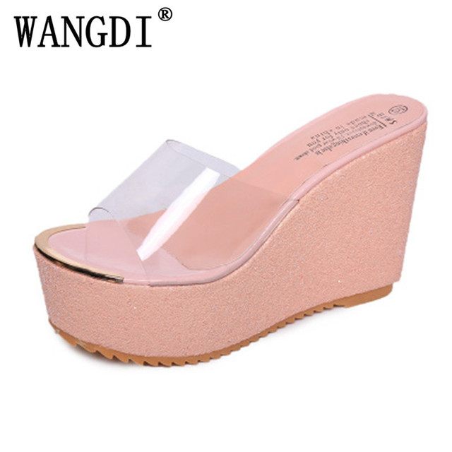 835d767f3 2017 New Summer Transparent Platform Wedges Sandals Women Fashion High Heels  Female Summer Shoes Size 35-39 Drop Shipping Gold