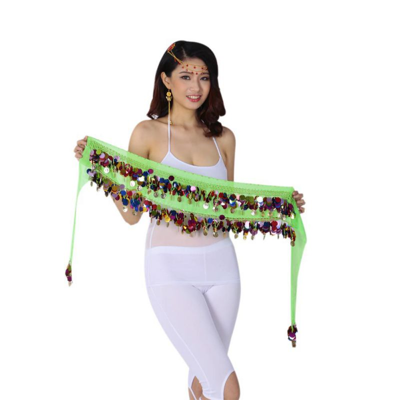 Belly Dance Belt Women Long Hip Scarf Indian Tribal Samba Carnival Costumes Bellydance Costume Multi Sequin Coin Belts