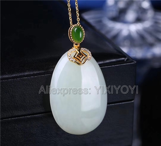 925 Sterling Silver White Green HeTian Jade Round Buckle Dangle Design Lucky Pendant + Chain Necklace Fine Jewelry Charm Gift 925 silver green yellow chalcedony agate pendant buckle female sweater chain large round jade pendant