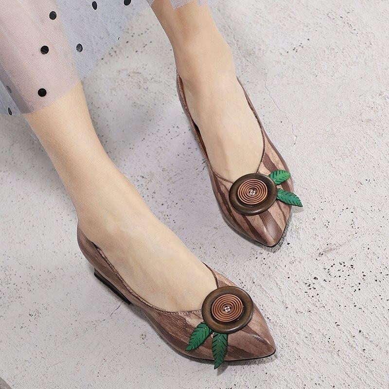 Y Mano Nuevo Dedo Mujer Hecho Tacones Puntiagudo Original Artdiya Grueso Retro Coffee Zapatos Bombas A De Genuino 2019 Verano Cuero Pie Flores Del Primavera qUtUnRScY