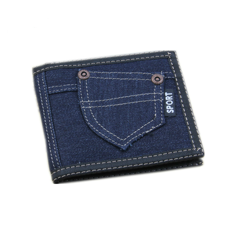men / women Wallets 2018 New Wholesale Retro Hot sale 3 Folding Solid Canvas denim jeans Short zipper money clip Purse Vintage